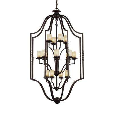 Trempealeau 16-Light Roman Bronze Indoor Pendant with Glass Shades