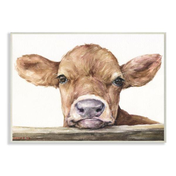 10 in. x 15 in. ''Cute Baby Cow'' by George Dyachenko Wood Wall Art
