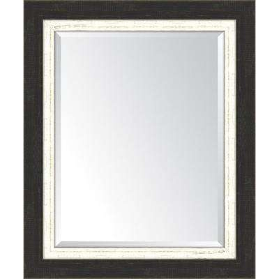 30 in. x 36 in. Framed Slate Black Large and White Mirror