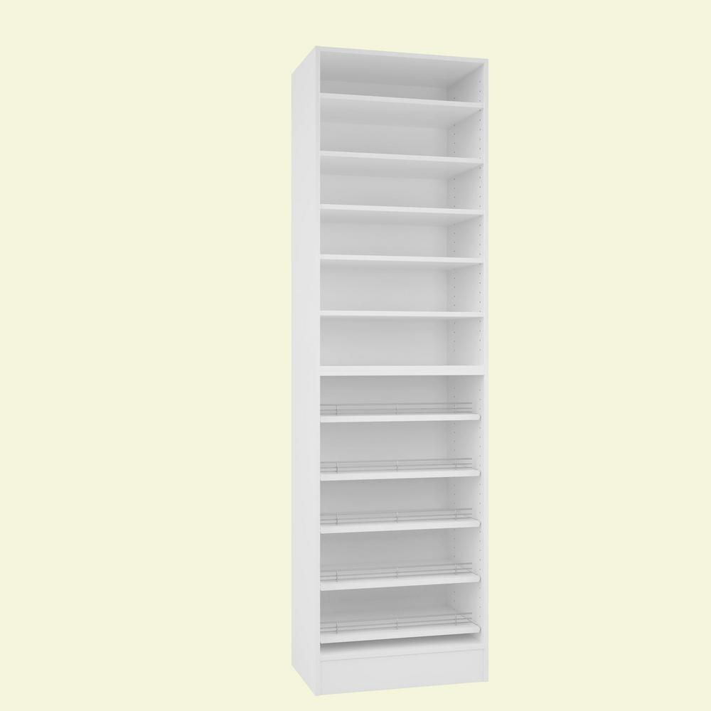 H Bianco Melamine With 11 Shelves Slide Outs Closet System Kit