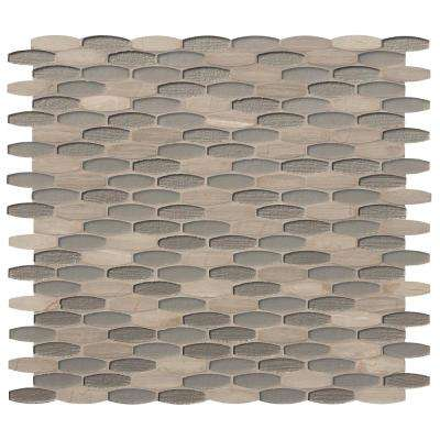 Ellipse Gris 12 in. x 12 in. x 8mm Textured Glass Stone Mesh-Mounted Mosaic Tile (10 sq. ft. / case)