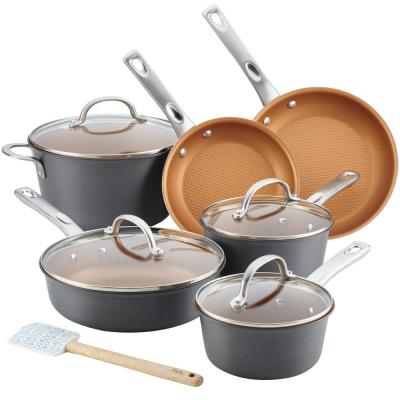 Home Collection 11-Piece Hard-Anodized Aluminum Nonstick Cookware Set in Charcoal Gray