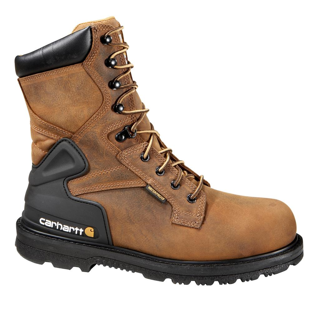 b8eab99a834 Carhartt Core Men's 13M Bison Brown Leather Waterproof Soft Toe 8 in.  Lace-up Work Boot