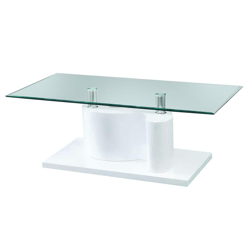 Fab Glass And Mirror The Infinity Tempered Glass Coffee Table With White  Glossy Base