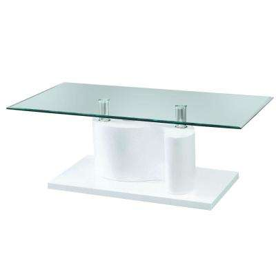 The Infinity Tempered Glass Coffee Table with White Glossy Base
