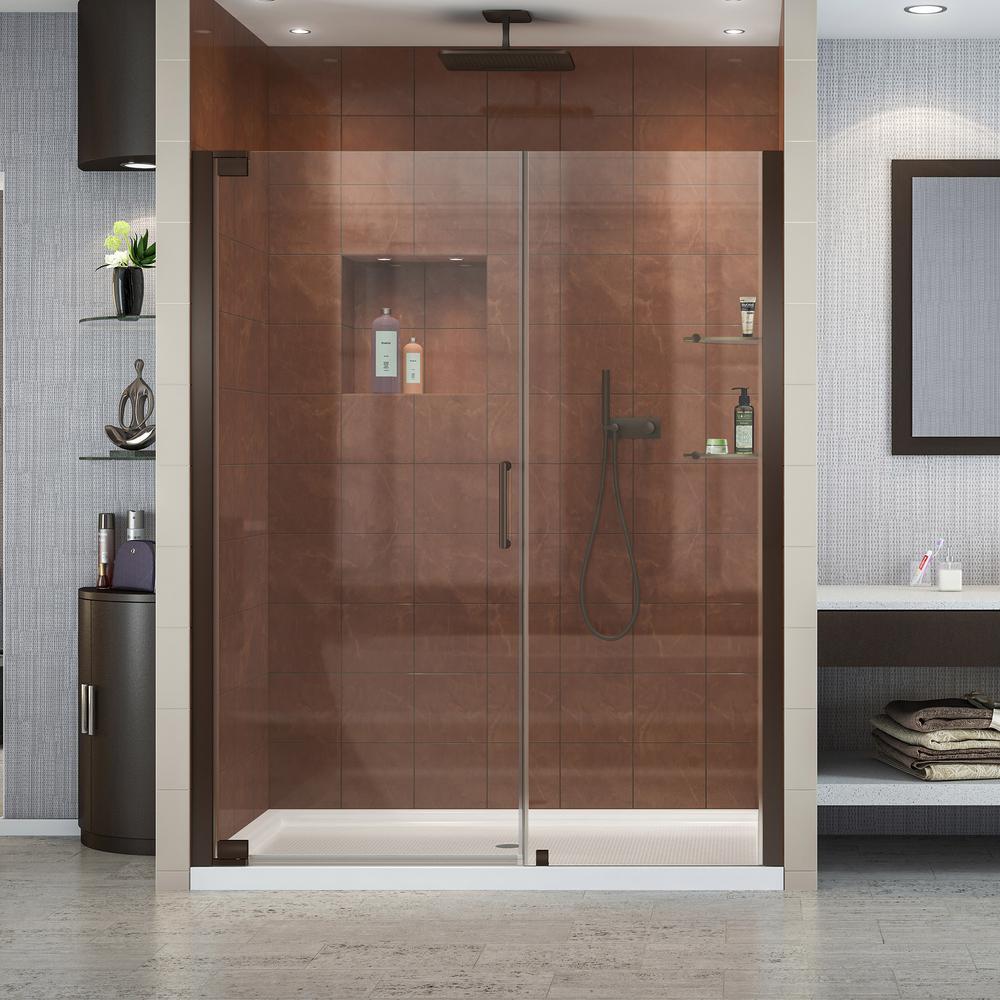 Elegance 52-3/4 in. to 54-3/4 in. x 72 in. Semi-Frameless Pivot Shower Door in Oil Rubbed Bronze