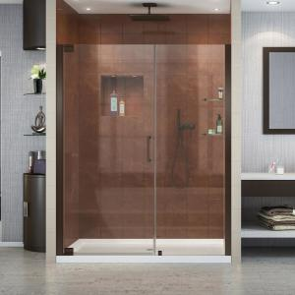 Dreamline Elegance 34 In To 36 In X 72 In Semi Frameless Pivot Shower Door In Brushed Nickel Shdr 4134720 04 The Home Depot