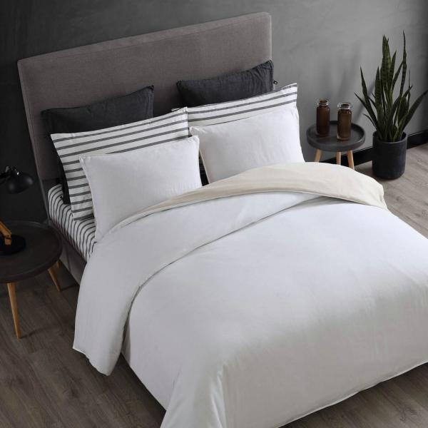 Washed Cotton Reversible White 3-Piece Cotton Full/Queen Comforter Set