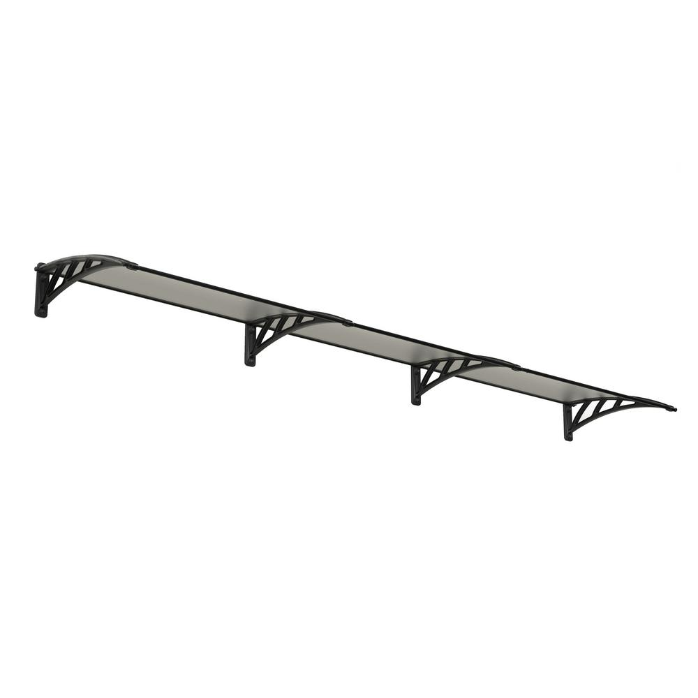 Palram Neo 3540 11 ft. 7 in. Gray/Clear Twin-Wall Door Canopy Awning