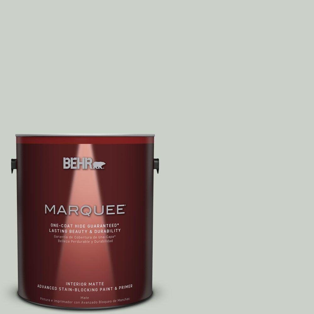 Behr marquee 1 gal mq3 48 shy green one coat hide matte interior paint 145001 the home depot for Best one coat coverage exterior paint