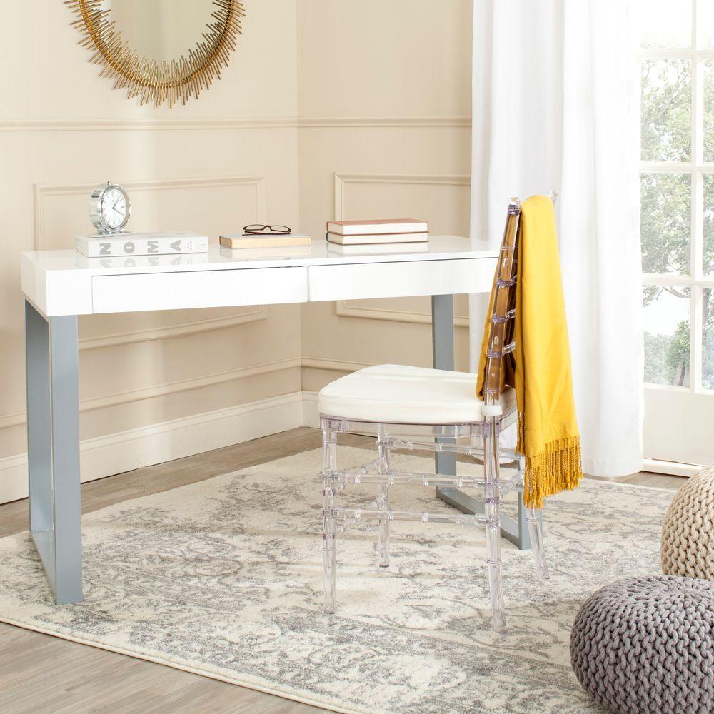 Barton White and Gray Desk with Storage