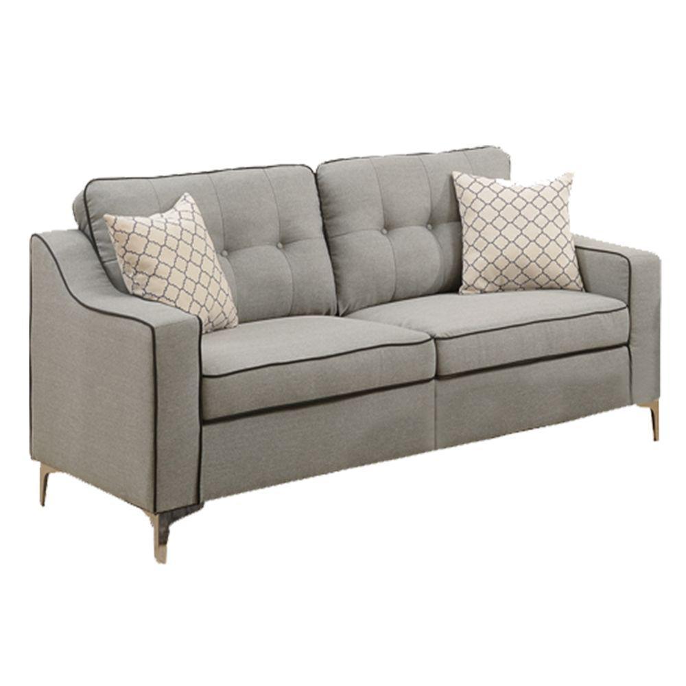 Poly Fiber Gray 2 Piece Sofa Set