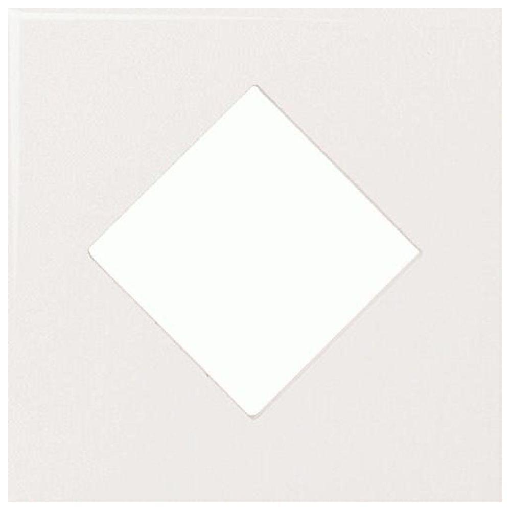 Daltile Fashion Accents White 4-1/4 in. x 4-1/4 in. Ceramic Diamond Insert Wall Tile-DISCONTINUED