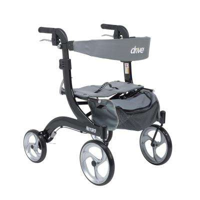 Nitro Euro Style Walker Rollator - Hemi Height in Black