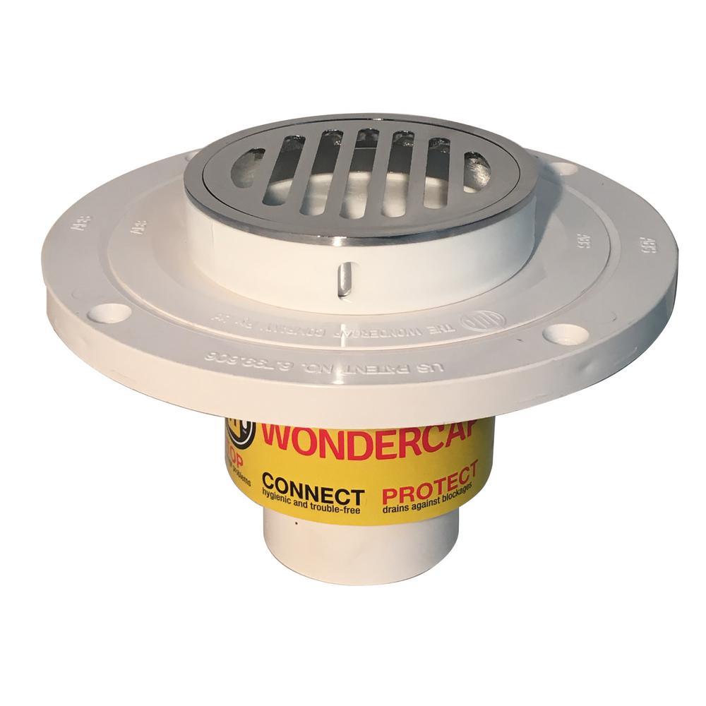 """Wondercap 2"""" All-In-One Shower Drain Kit w/ Round Strainer"""