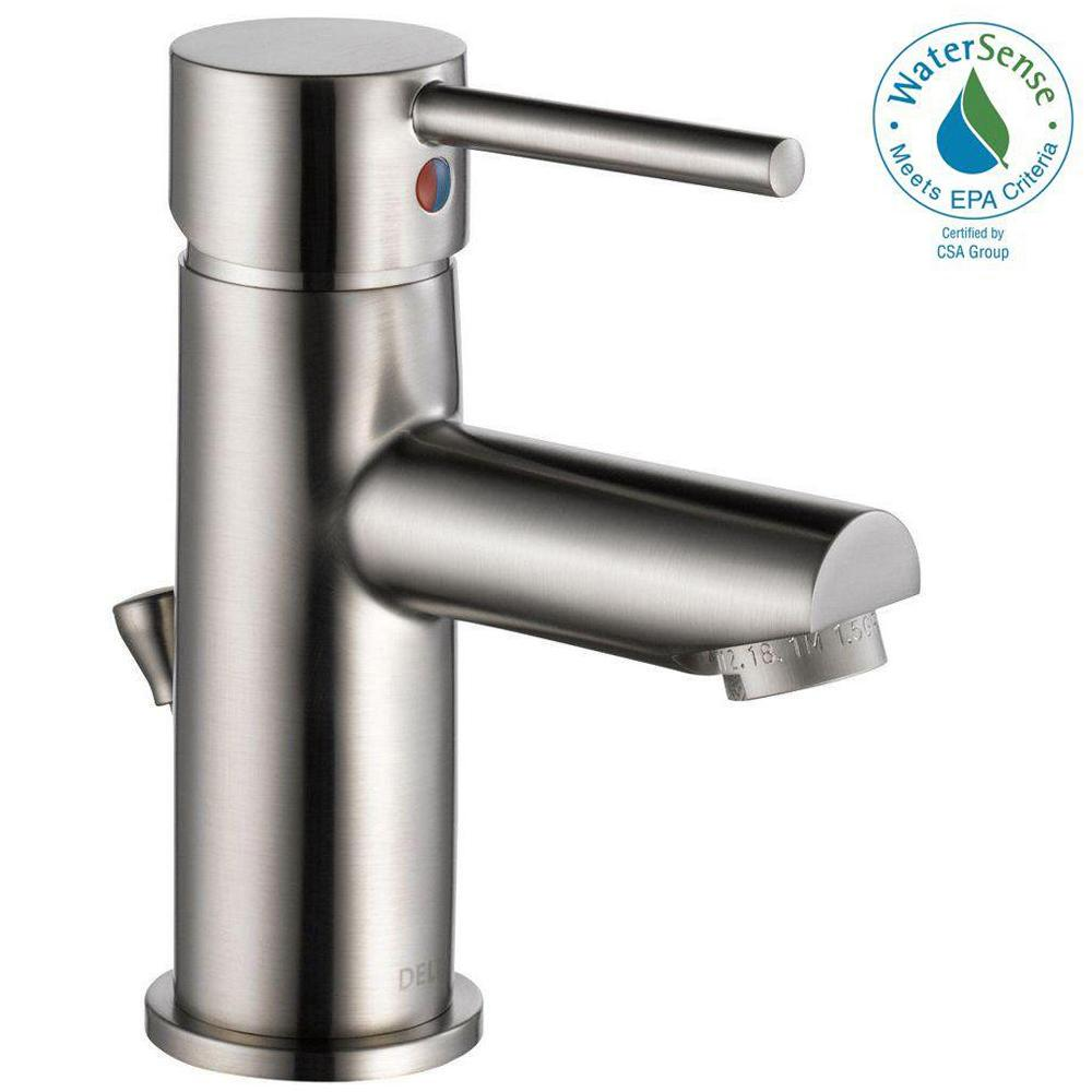 Delta Modern Single Hole Single Handle Bathroom Faucet In Stainless 559lf Sspp The Home Depot