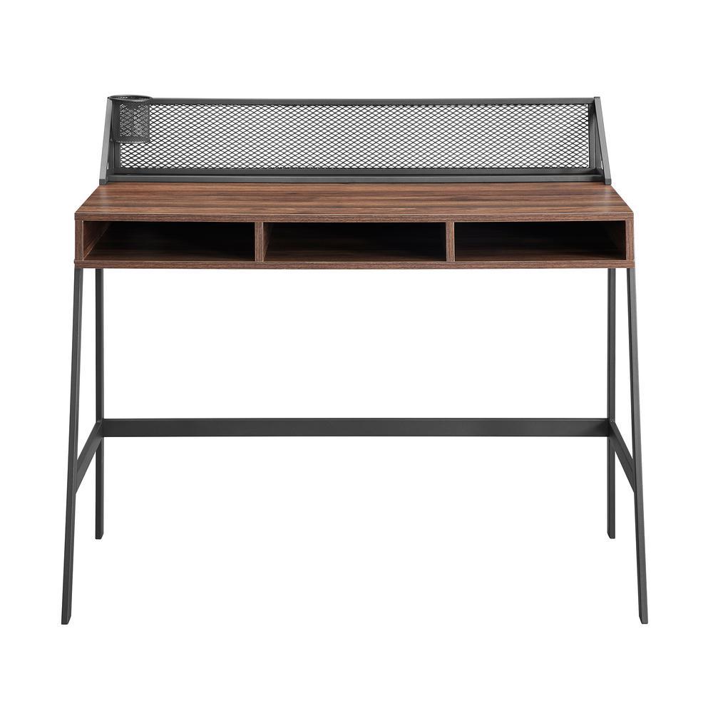 43 in. Rectangular Dark Walnut Writing Desks with Built-In Storage
