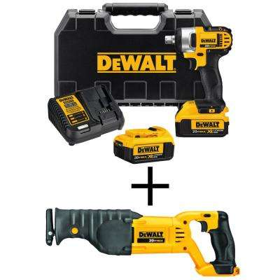 20-Volt MAX Lithium Ion Cordless 1/2 in. Impact Wrench Kit with Bonus 20-Volt MAX Cordless Recip Saw (Tool-Only)