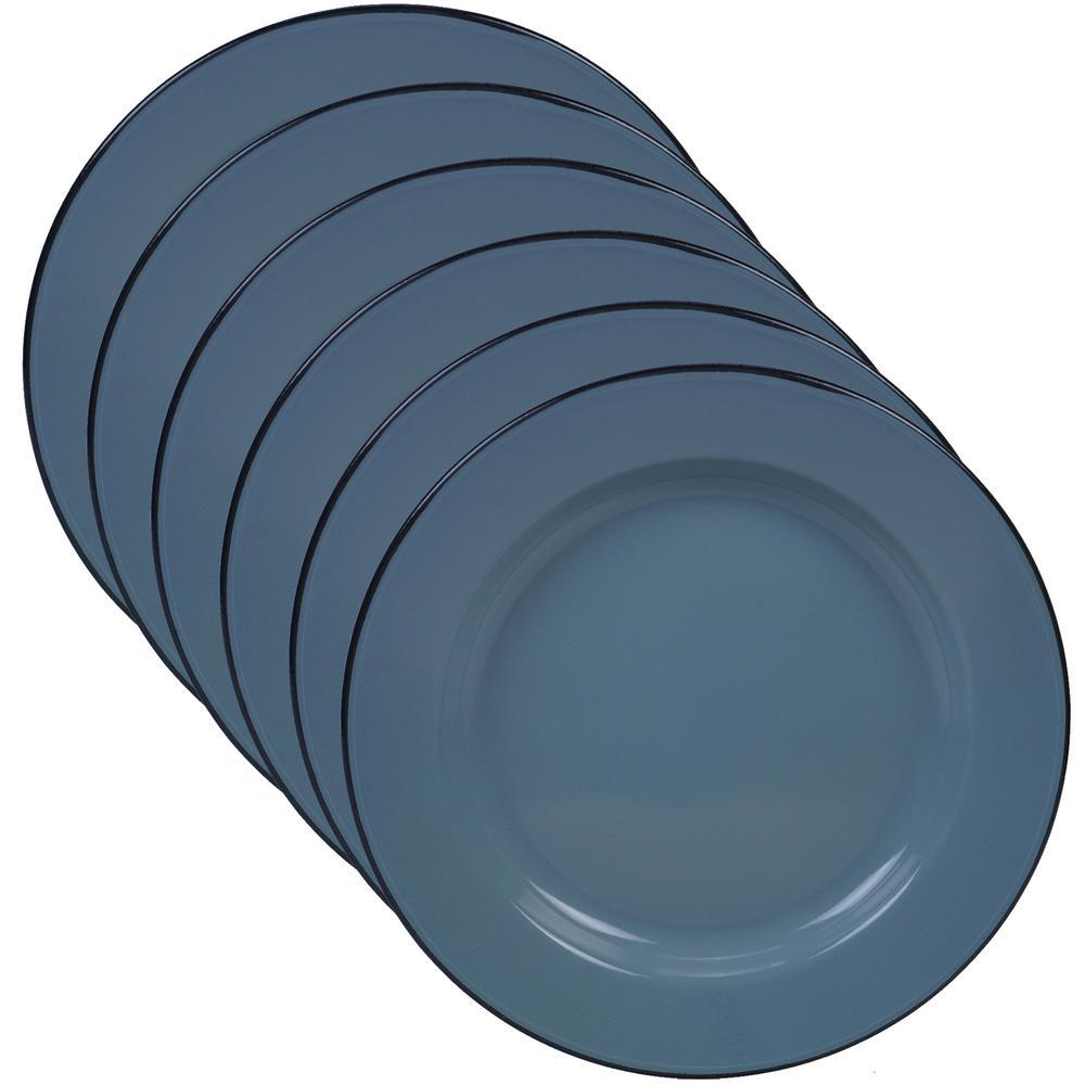 Certified International Enamelware 6-Piece Teal 10.25 in. Dinner Plate Set