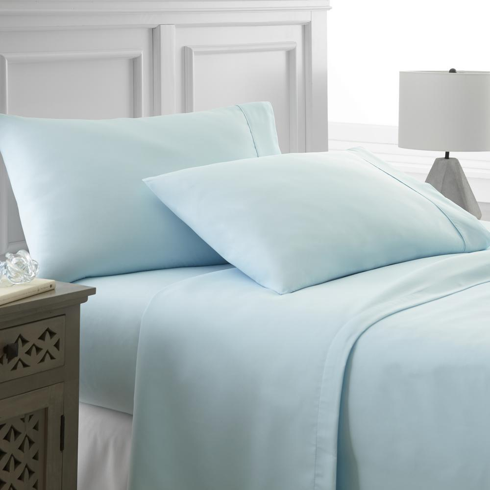 Superior Becky Cameron Performance Aqua Twin 4 Piece Bed Sheet Set