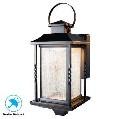 Portable Black Outdoor Integrated LED Wall Mount Lantern