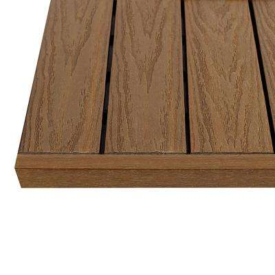 1 in. x 1 ft. Peruvian Teak Quick Deck Composite Deck Tile Straight End Fascia (4-Piece/Box)