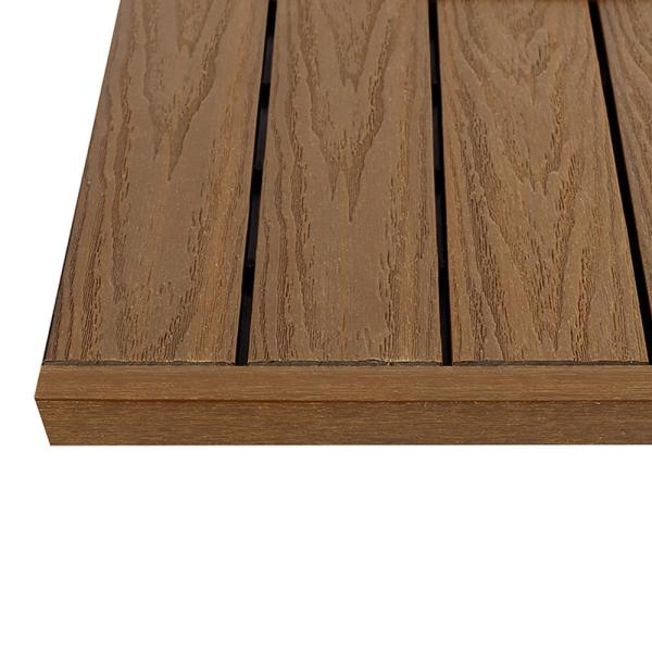 1/6 ft. x 1 ft. Quick Deck Composite Deck Tile Straight Trim in Peruvian Teak (4-Pieces/Box)