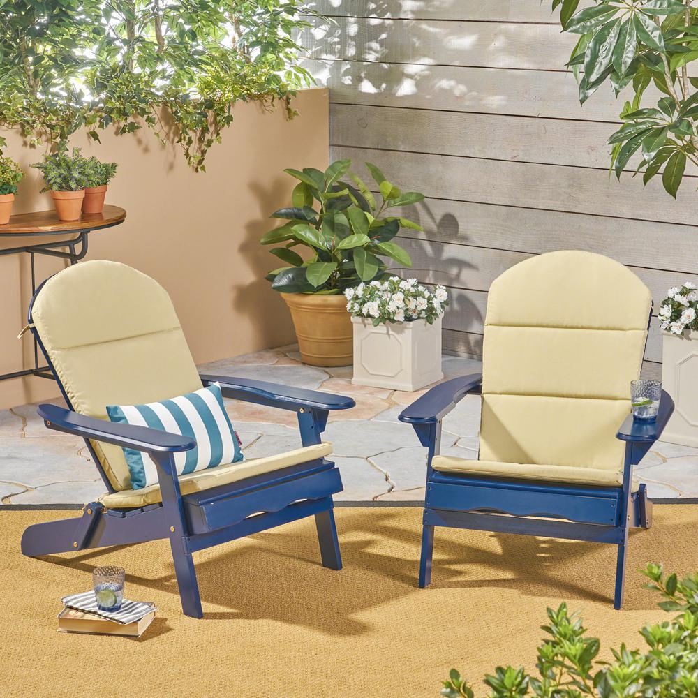 Malibu Navy Blue Folding Wood Adirondack Chairs with Khaki Cushions (2-Pack)
