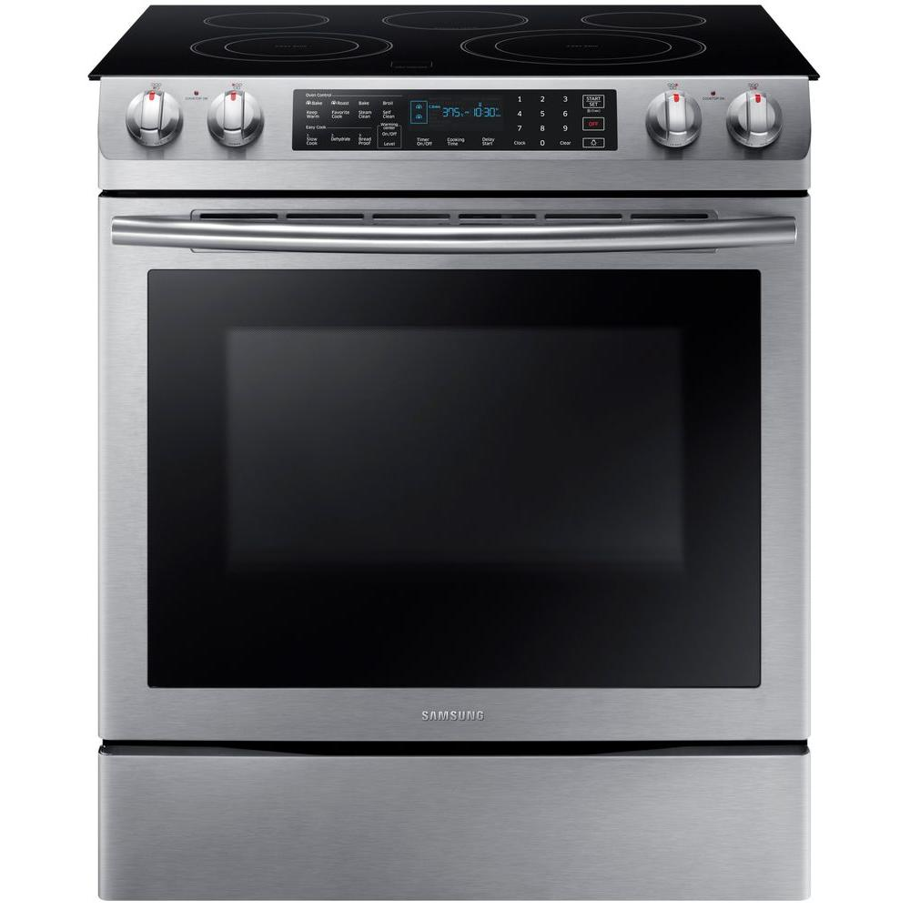 electric cooking stoves oven slidein electric range with selfcleaning dual convection oven in stainless steelne58k9430ss the home depot samsung 58 cu ft