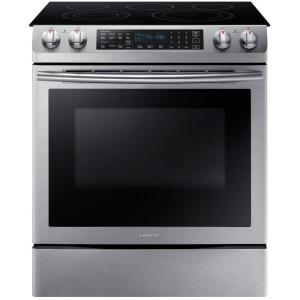 Click here to buy Samsung 5.8 cu. ft. Slide-In Electric Range with Self-Cleaning Dual Convection Oven in Stainless Steel by Samsung.