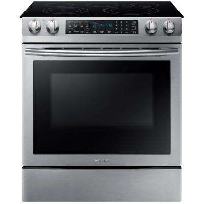 5.8 cu. ft. Slide-In Electric Range with Self-Cleaning Dual Convection Oven in Stainless Steel