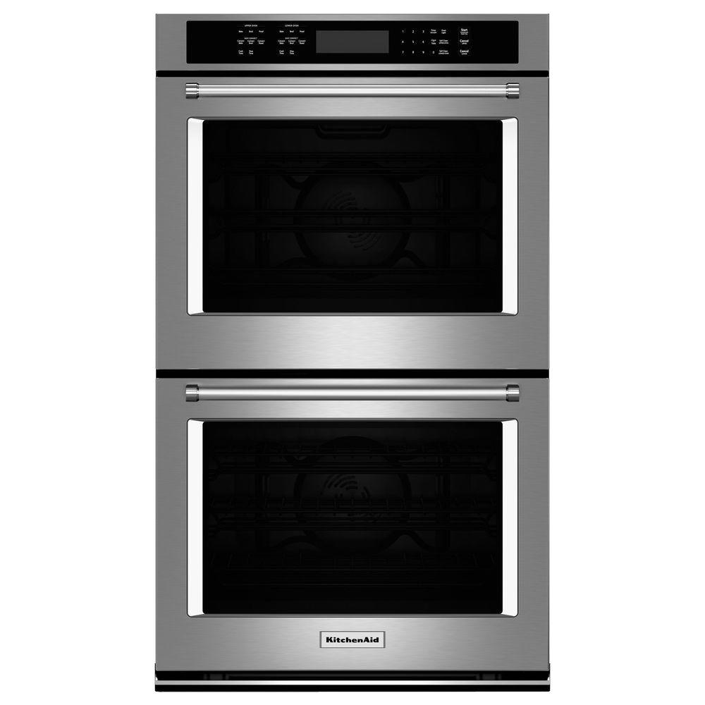 27 in. Double Electric Wall Oven Self-Cleaning with Convection in Stainless