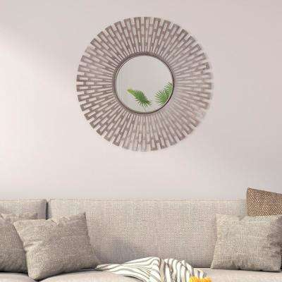 Geometric Starburst Round Champagne Decorative Wall Mirror