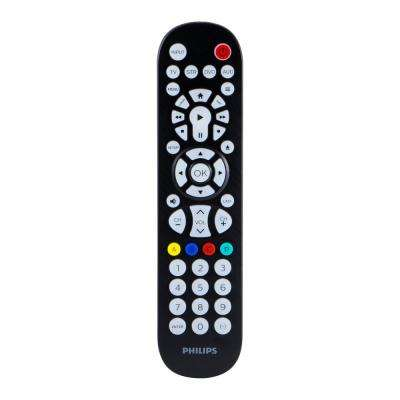 4-Device Streaming Compatible Backlit Universal Remote Control in Brushed Black