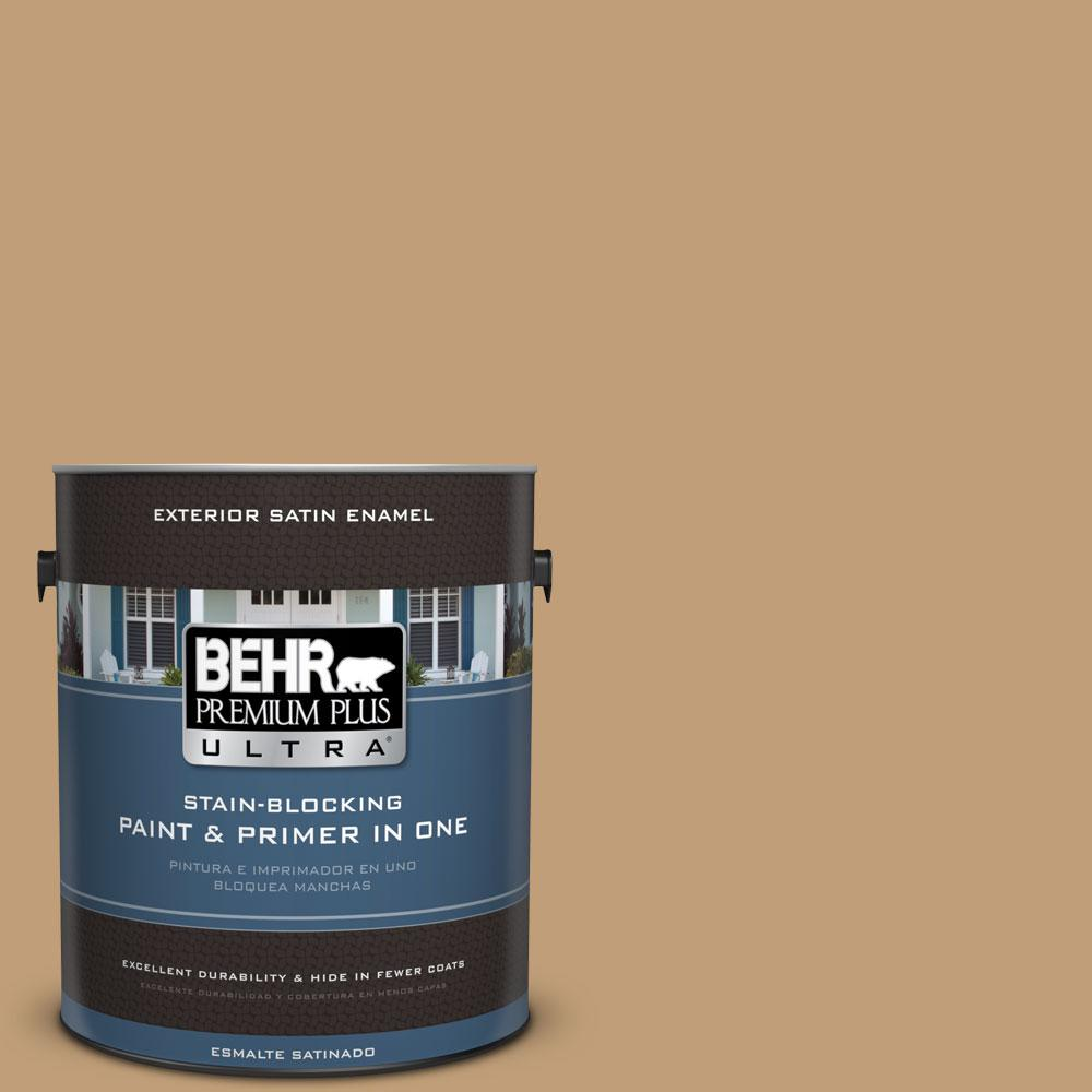 BEHR Premium Plus Ultra 1-gal. #300F-4 Almond Toast Satin Enamel Exterior Paint