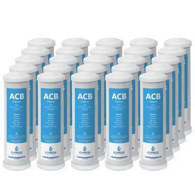 5 Micron Activated Carbon Block ACB Water Filter 10 in. Standard Replacement for Reverse Osmosis & Under Sink (25-Pack)
