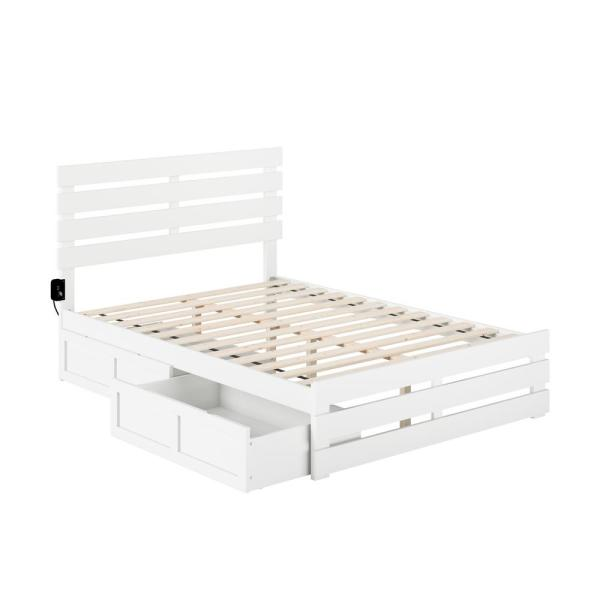 Oxford in White Full Bed with Footboard and USB Turbo Charger with 2-Drawers