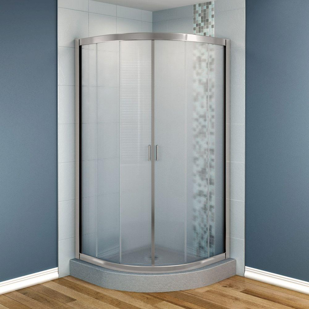 MAAX Intuition 36 in. x 36 in. x 70 in. Neo-Round Frameless Corner Shower Door  Glass in Nickel Finish-DISCONTINUED