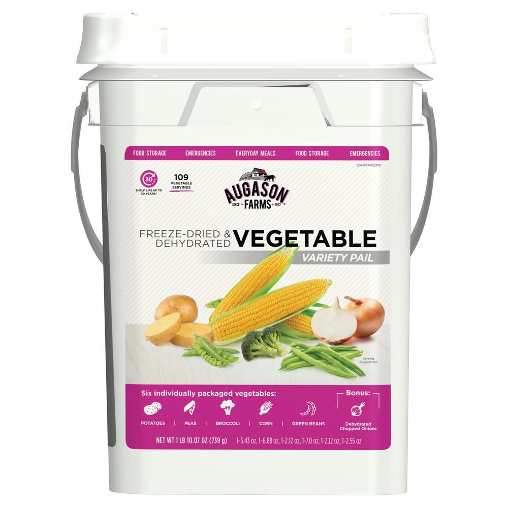 AUGASON FARMS AUGASON FARMS Freeze Dried Vegetable Variety Pail Emergency Food Supply 6 Varieties 30-Year Shelf Life