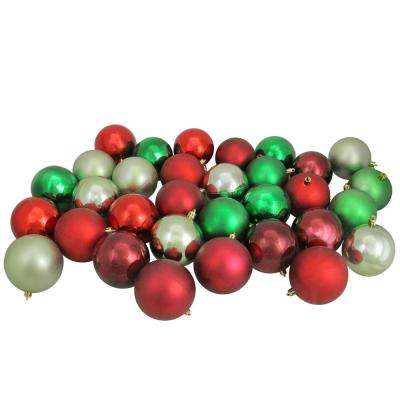 3.25 in. Red/Xmas Green/Celadon/Burgundy Shatterproof Christmas Ball Ornaments (32-Count)
