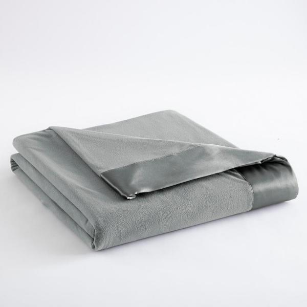 Micro Flannel Full Queen Greystone Year Round Polyester Sheet Blanket MFNBKFQGRS