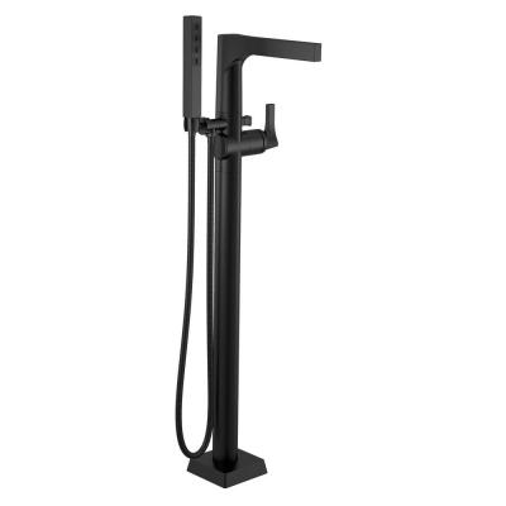 Zura 1-Handle Floor-Mount Tub Filler Trim Kit with Hand Shower in Matte Black (Valve Not Included)