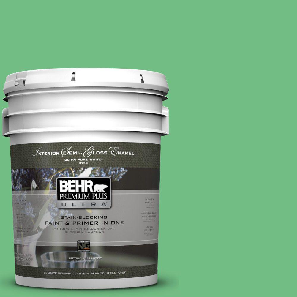 BEHR Premium Plus Ultra 5-gal. #P400-5 Winter Shamrock Semi-Gloss Enamel Interior Paint