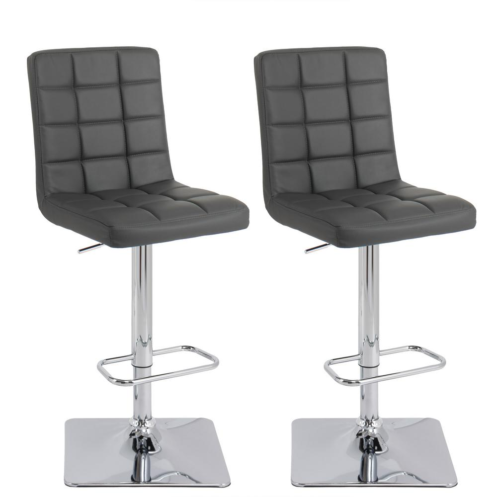 Dark grey bonded leather swivel bar stool set of