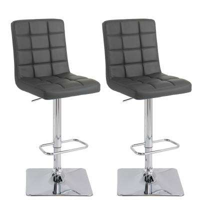Adjustable Height 33 in. Dark Grey Bonded Leather Swivel Bar Stool (Set of 2)