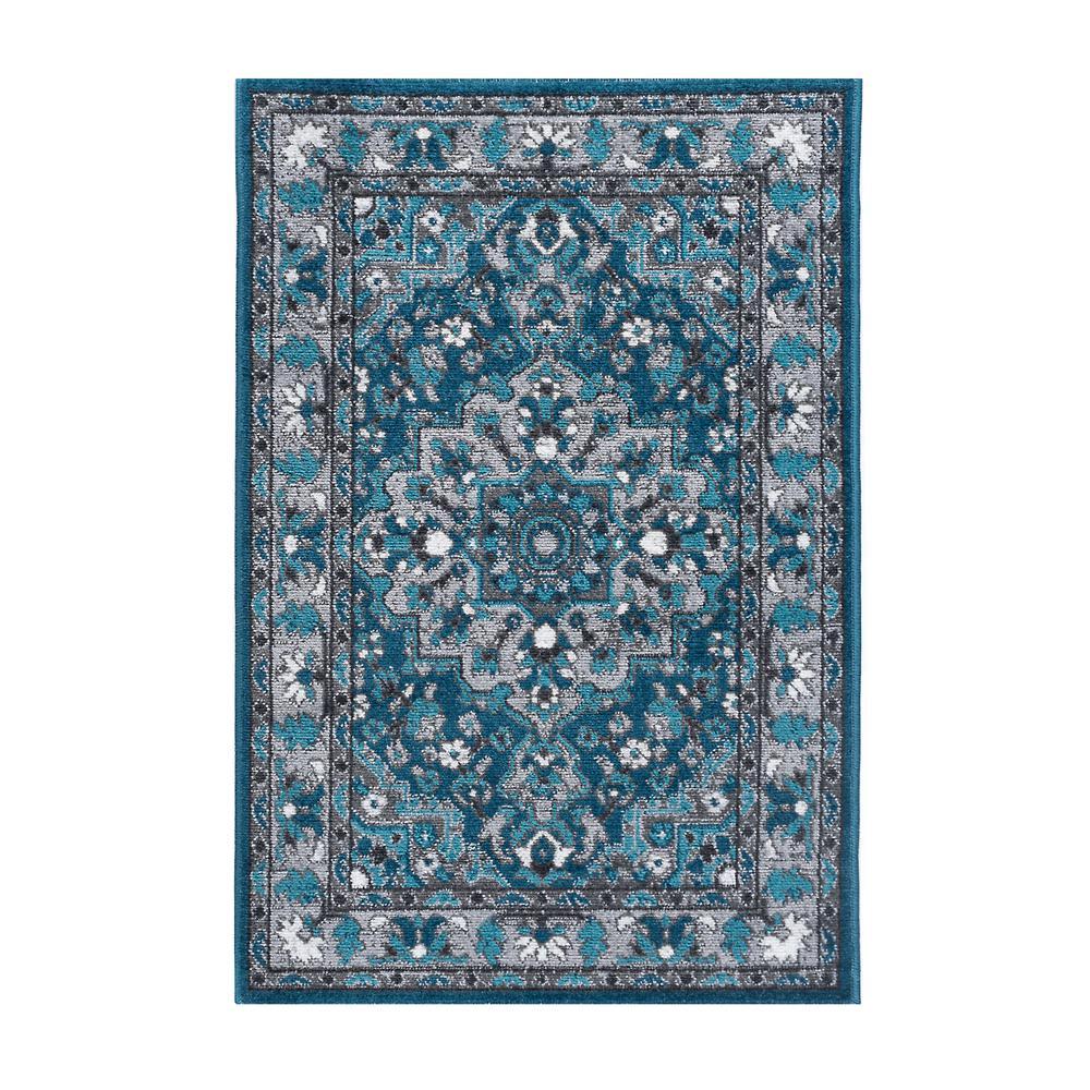 Incredible Tayse Rugs Milan Blue 2 Ft X 3 Ft Area Rug Interior Design Ideas Inamawefileorg