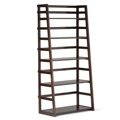 Acadian Solid Wood 63 in. x 30 in. Rustic Ladder Shelf Bookcase in Tobacco Brown