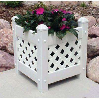 14-1/2 in. Square White Vinyl Lattice Planter