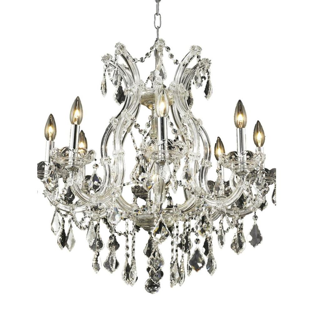 Elegant Lighting 9-Light Chrome Chandelier with Clear Crystal