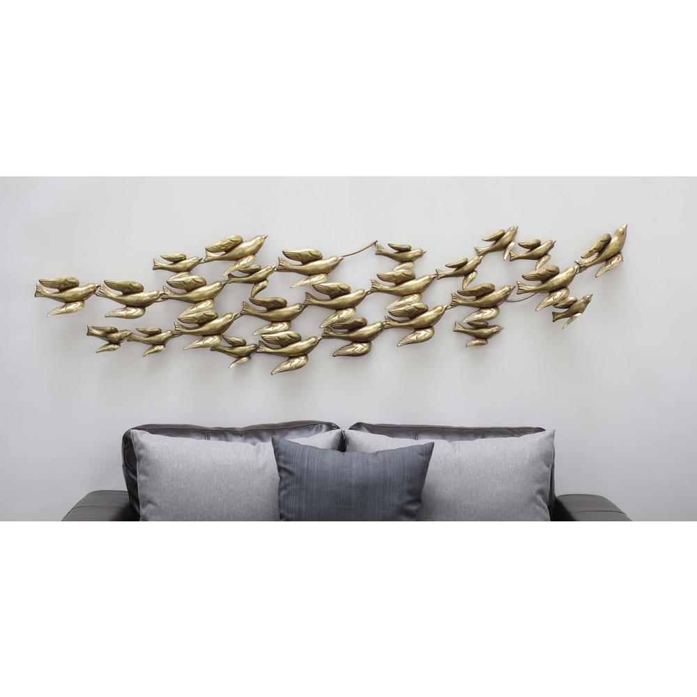 Contemporary flock of birds wall decor in gold finished 55599 the home depot